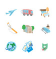 travel flat sketch icons vector image