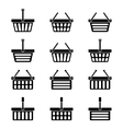 Twelve silhouettes of shopping baskets icons vector image vector image