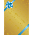 vector golden card with blue bowknot vector image vector image