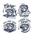 vintage carp fishing logo vector image vector image