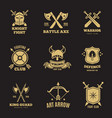 vintage golden warrior sword and shield labels vector image vector image