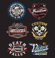 vintage motorcycle themed badge vector image vector image