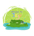 welcome to jejy island popular place for visiting vector image