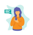 woman with phone chat concept design vector image vector image