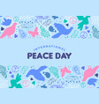 world peace day card of dove bird icon decoration vector image vector image