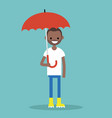 young black character with umbrella wearing vector image vector image