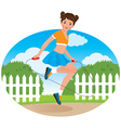 Little girl with a skipping rope vector image