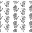 Hand drawn handprints seamless pattern vector image