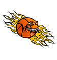 flying basketball ball vector image