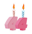 44 years birthday number with festive candle for vector image vector image