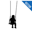 a child silhouette on swing on white vector image vector image