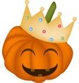 A Happy Halloween Pumpkin in A Crown vector image