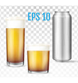 beer glasses metal can of cold beer vector image