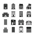 buildings set in black flat style vector image vector image