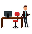 businessman in workplace character vector image