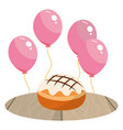 cake and balloons vector image vector image