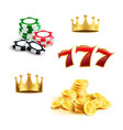 casino icon of gaming chip coin and triple seven vector image vector image