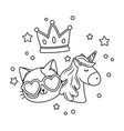 cat wit sunglasses unicorn and crown black and vector image
