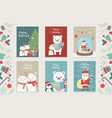 celebration happy christmas card set decoration vector image vector image