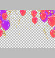 colored and transparent balloons on the checked vector image