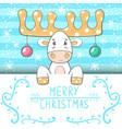 Cute funny cartoon deer