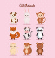 cute set animals characters vector image vector image
