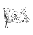 doodle jolly roger vector image vector image