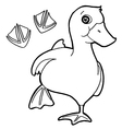 duck with paw print Coloring Page vector image vector image