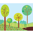 Funny garden landscape with trees vector image