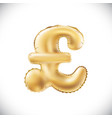 gold alphabet balloons pound sterling sign gold vector image vector image