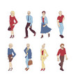group of people standing on white background vector image vector image