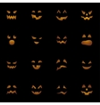 Halloween pumpkins faces on black background vector image