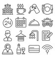 hotel room service related icon set line style vector image
