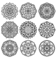 Indian meditation mandala patterns set vector image