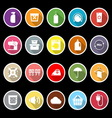 Laundry flat icons with long shadow vector image