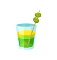 layered green and yellow alcoholic cocktail with vector image