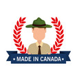made in canada seal with ranger forest vector image vector image