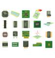 micro chip icon set cartoon style vector image vector image