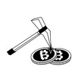 mining bitcoins symbol in black and white vector image vector image