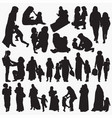 muslim mother and child silhouettes vector image vector image