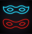 neon mask sign glowing costume party bright vector image