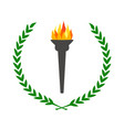 olympic flame burning torch with laurel wreath vector image