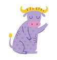 ox sitting character animal cartoon doodle color vector image