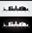 pasadena usa skyline and landmarks silhouette vector image