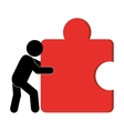 person pushing puzzle piece icon vector image vector image