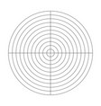 polar grid of 10 concentric circles and 90 degrees vector image vector image
