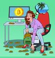 pop art happy woman put bitcoins in backpack vector image vector image