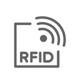 rfid with radio waves line icon vector image vector image