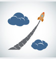 rocket flies in the clouds percent sign vector image vector image