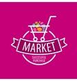 Round logo shopping cart vector image vector image